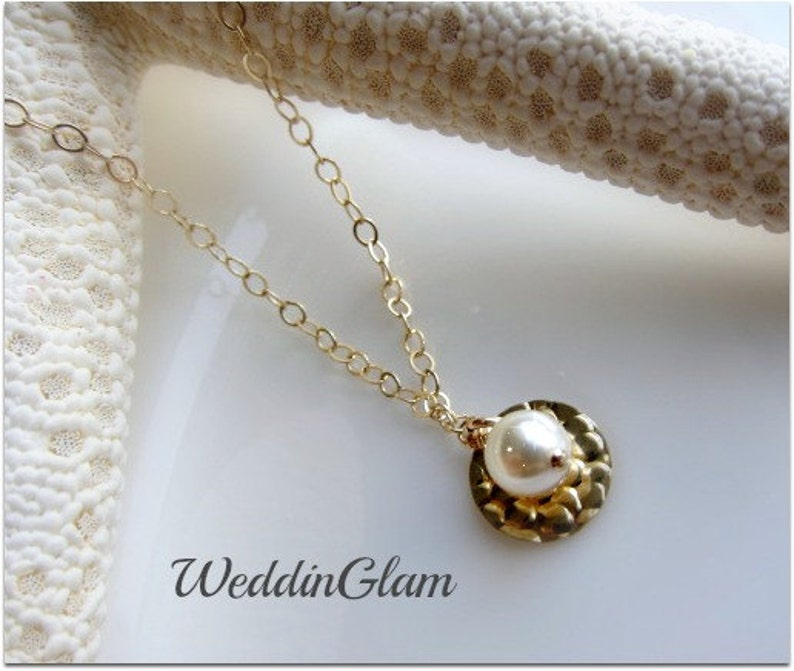 bridesmaid necklace monogram necklace personalized necklace coin necklace everyday necklace Gold hammered disc and pearl necklace