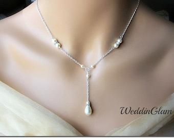 Pearl Rhinestone Simple Bridal Necklace, Wedding Necklace, Special Occasion, Bridal necklace, Pearl drop pendant V shape necklace, necklace