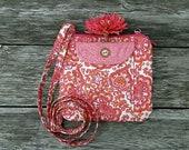 Crossbody Bag, Pink, Hannah Bag, Quilted Fabric Bag, Paisley, Woman 39 s Bag, Gift for Her, Vacation Bag