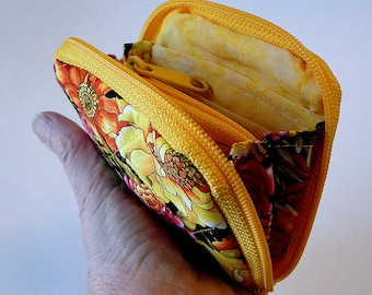 Mini Zipped Wallet, Pocket Wallet, Yellow, Floral, Pink, Wallet for Flat Purses, Wallet for Crossbody Bag, Coin Purse, Gift for Her