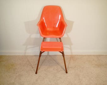 CAL DAK Miller Style Fiberglass Shell High Chair, Bucket High Chair Vintage  Mid Century Eames Era Salmon Orange,