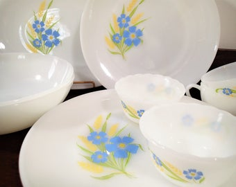Anchor Hocking Fire King Forget Me Not dinnerware set 11 piece set blue flowers golden yellow fern on milk glass Vintage 1960's retro dishes