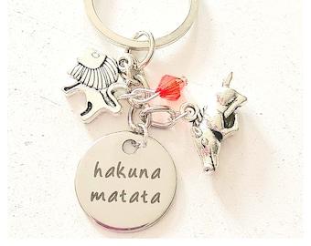 Hakuna Matata Key Chain Hand Stamped Keychain Lion King Inspired