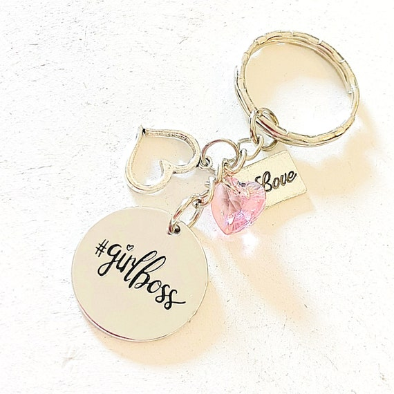 Personalized Girl Boss Silver Purse Charm/Keychain Gift for