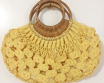 Yellow vintage wicker purse.