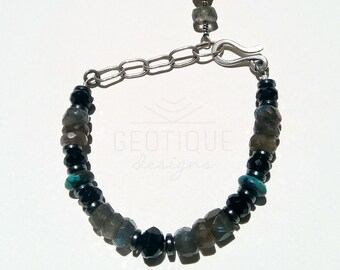 Faceted Labradorite,Turquoise,Hematite and Hand Forged Silver Chain and Clasp