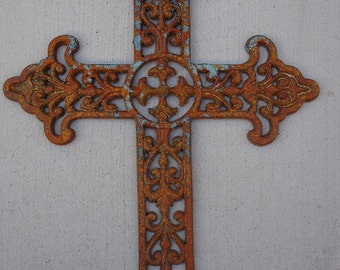 A Unique And Decorative 13u201dW X 18u201dL Large Artistic Christian Wall Cross For  Home Wall Decor And Great Gift Idea *Cast Iron Cross*Metal Cross