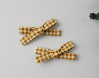 mustard yellow skinny schoolgirl bow mustard headband school girl bow headband schoolgirl pig tail clips Schoolgirl Baby Bow Headband