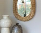 Vintage Wicker Rattan Oval Accent Mirror
