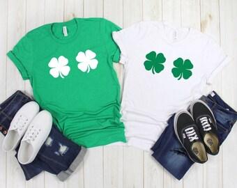 fdda98c4 lucky charms green white St patrick's XS-XL bachelorette party shirts tee t- shirt top clover shamrock unisex 4 leaf clover bra