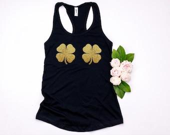 067bcebaf4551 St patrick s day shamrock 4 leaf clover bra XS-XXL Tank top shirt Women s  Costume gold glitter pattys party