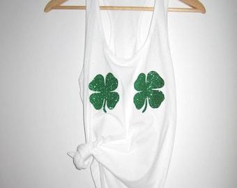 09b4bb2c20075 St patrick s day shamrock 4 leaf clover bra XS-XXL Tank top shirt Women s  green glitter pattys party irish shake your shamrocks
