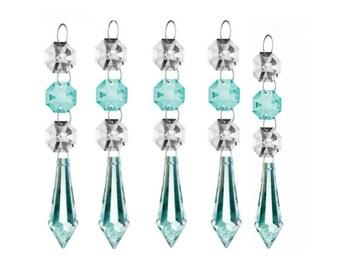 5 Light Aqua 50mm Icicle Chandelier Crystals Ornaments