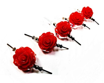 5 Red Chandelier Roses, 18mm Shabby Chic Chandelier Crystals -