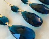 5 Zircon Blue 38mm Teardrop Chandelier Crystals for Weddings Suncatchers