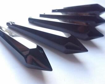 5 Black 80mm Icicle Chandelier Crystal Prisms Pendants