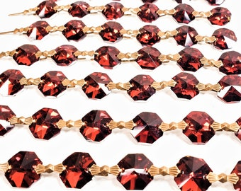 1 Yard Metallic Dark Amber Chandelier Crystals, Foiled Crystals