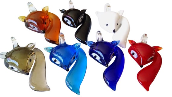 Gray Fox Glass Lampwork Foxes Pendant Charm Jewelry Supplies Grey