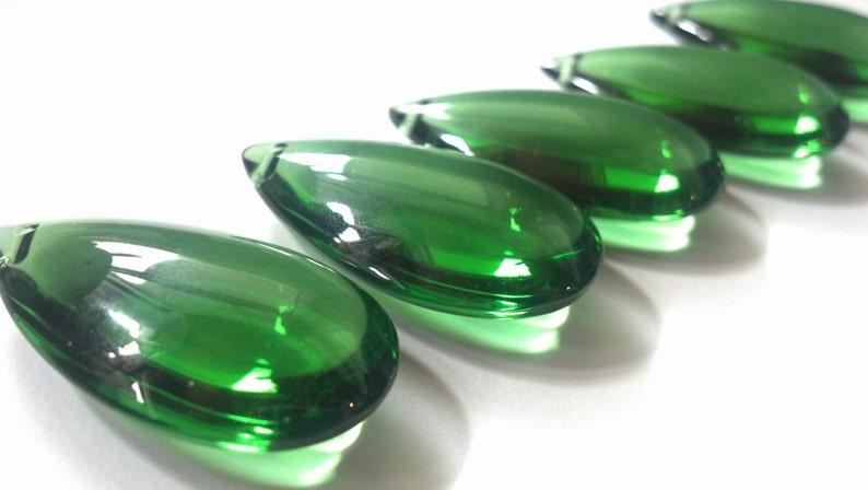 5 Green Smooth Teardrops Chandelier Crystals Almond NO Facets image 0