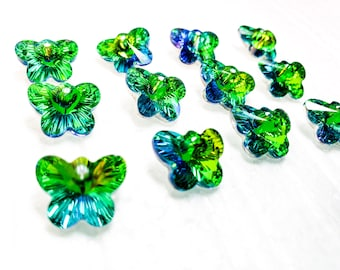 12 Green Rainbow Butterfly Beads 14mm, Chandelier Crystals One Hole