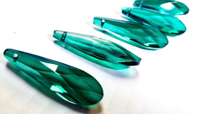 5 Light Aqua 60mm Raindrop Chandelier Crystals Wedding Decor Pendant Aquamarine