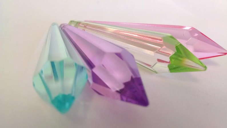 4 Pink Aqua Lilac Spring Green Icicle Chandelier Crystal Prisms 80mm