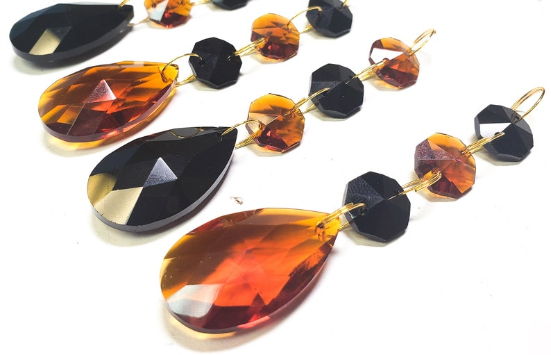 4 Black and Amber Chandelier Crystals Teardrop Triple Bead Ornaments