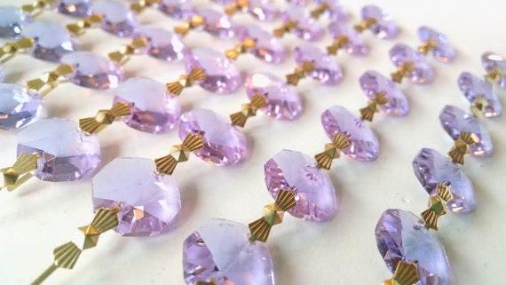 1 Yard Lilac Chandelier Crystals Garland Crystal Prisms Lavender Purple