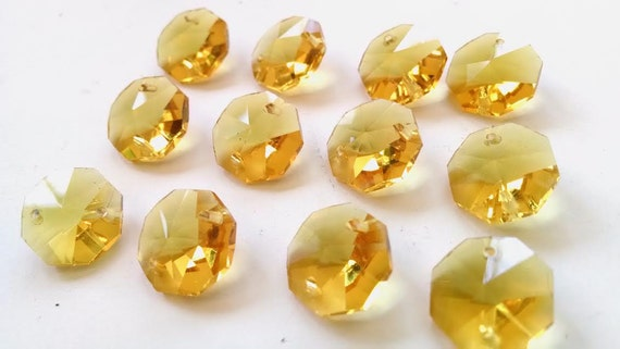 50 Orange Octagon Chandelier Crystal Lead Crystal Beads Octagons