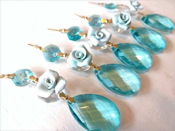 5 Light Aquamarine Icicle Clear Octagon 80mm Chandelier Crystals Aqua Ornament