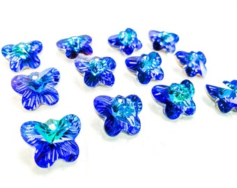12 Blue Rainbow Butterfly Beads 14mm, Chandelier Crystals One Hole