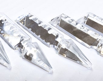 """5 Clear Spear Chandelier Crystals Prisms 4"""" Shabby Chic 100mm"""