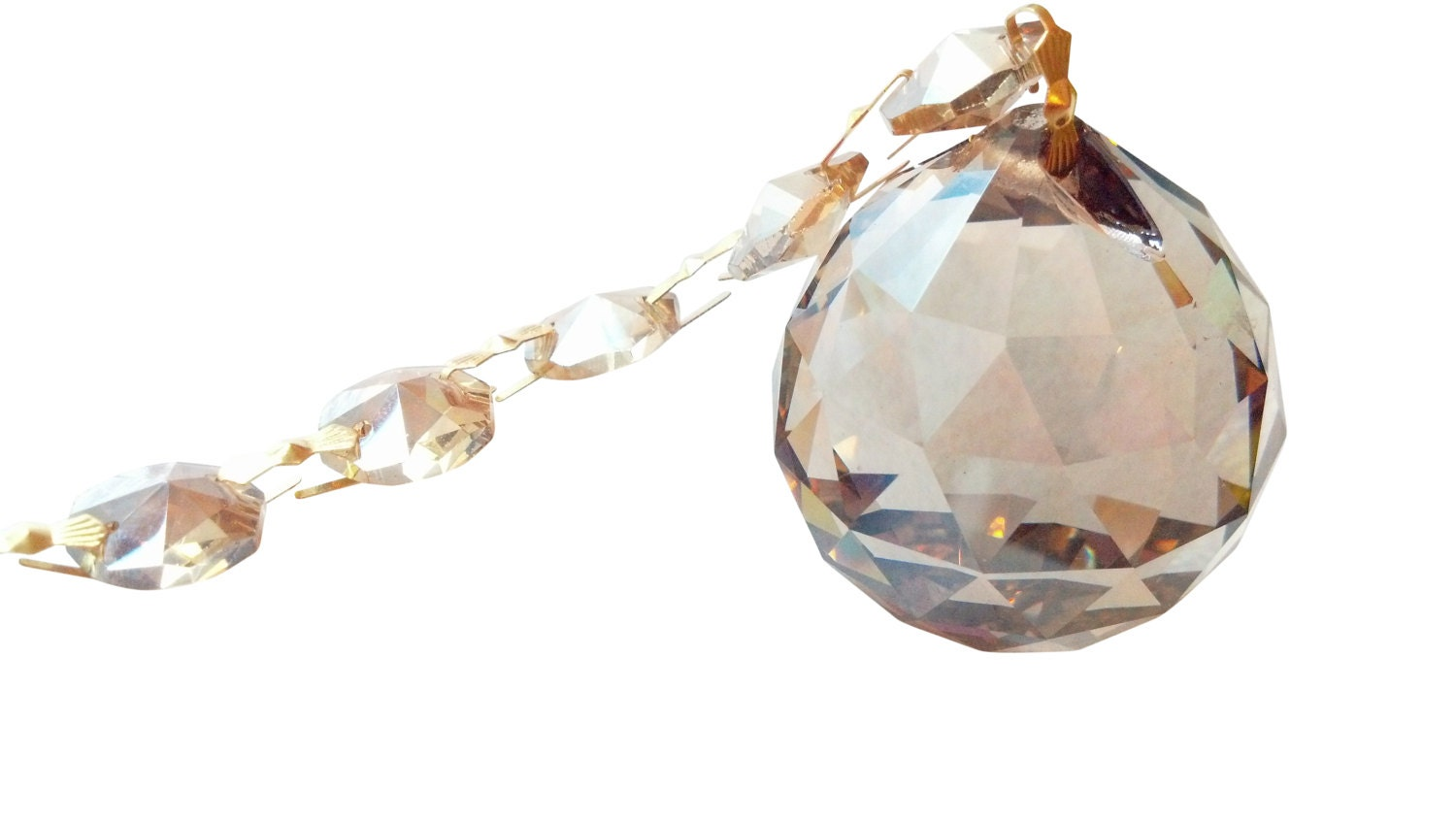 40mm Champagne Ball Ornament Chandelier Crystal Prisms ...