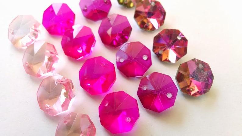 50 Metallic Caribbean Teal Green Octagon Chandelier Crystal Beads Octagons