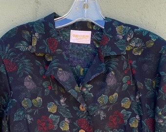 1990s Geiger Light Wool Button-up Printed Blouse  Extra Small