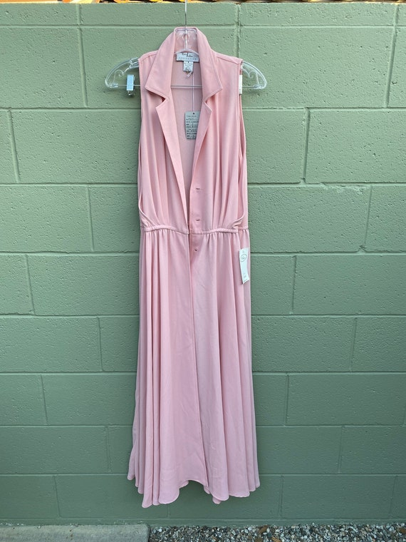 Vintage 1990s Crepe Dress Pastel Pink Button Front