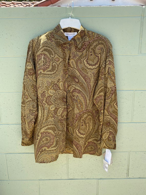 Vintage 1990s Jones New York Paisley Print Blouse