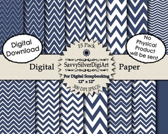 Navy Blue Chevron Digital Paper - Instant Download, Navy Blue Zig Zag, Chevron Paper, Scrapbook Background Paper