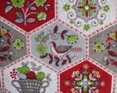 1 yd Feed Sack Fabric Barn Red, Apple Green, Gray, White, Fruit Basket, Farm House, Medallion, Flowers, 42 quot x 36 quot W