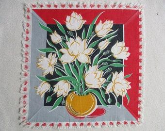 MId-century Tulip Napkins, Mats, Coasters, Handmade, Fringe Edge, Red Black Gold Gray