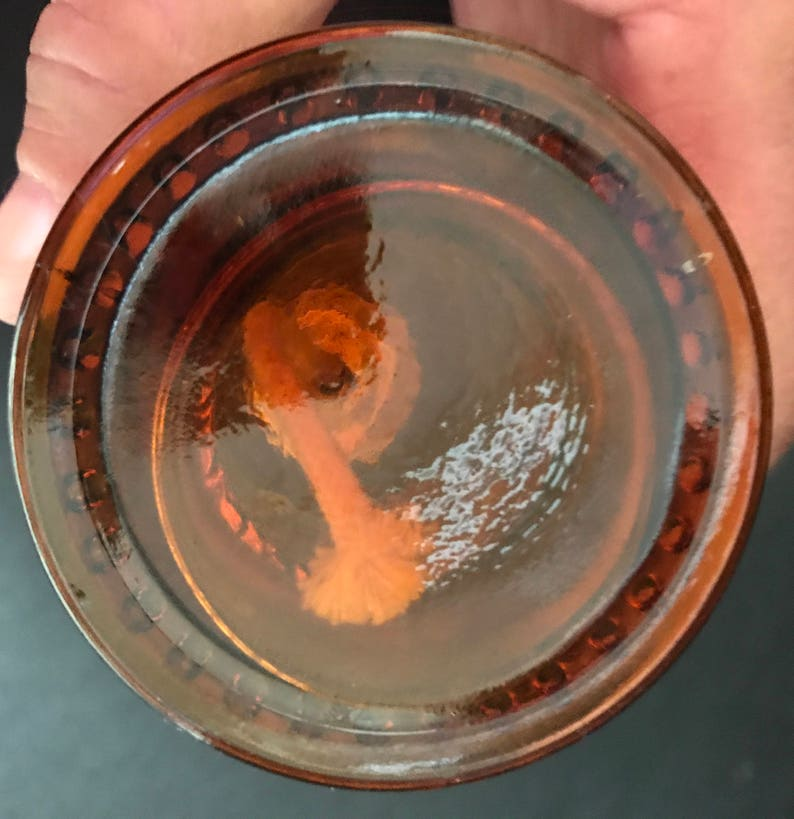 No Chimney Scented Oils Kerosene Lamp Free US SH Vintage Miniature Lamp with Press Glass Amber Swirls /& Dots Oil Lamp Works Great