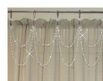 Cafe Curtain Drapery Bling... Double Swag.... 7 Star