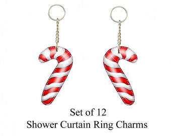 Candy Cane Shower Curtain Ring Charms OrnamentsSet Of 12