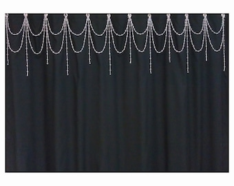 Beaded Shower Curtain Acessory....Bright Crystal resin....Double Swag w Short Alt Vertical Strands