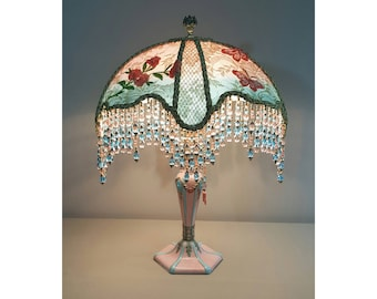 Vintage Table Lamp with Victorian Lamp shade- My Coraline # 0421