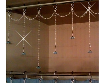 Bathtub/Shower Header Bling .......Single Swag with 3 Alt Length Vertical Strands...Charms are sold seperately.