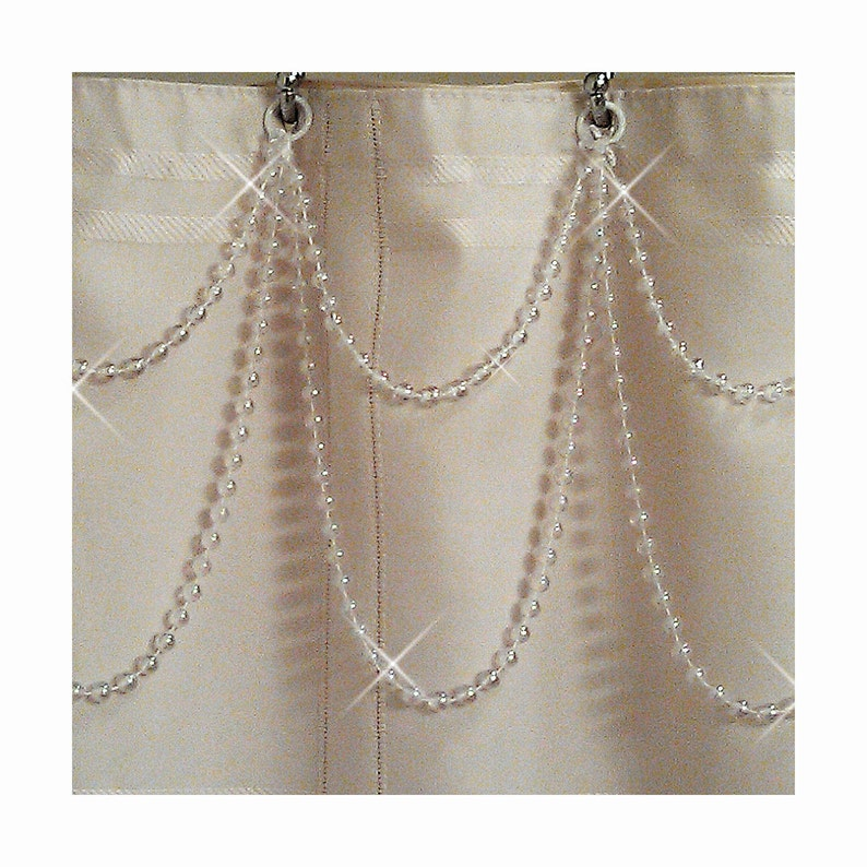 Pearl Resin Double Swag Shower Curtain Beaded Accessory
