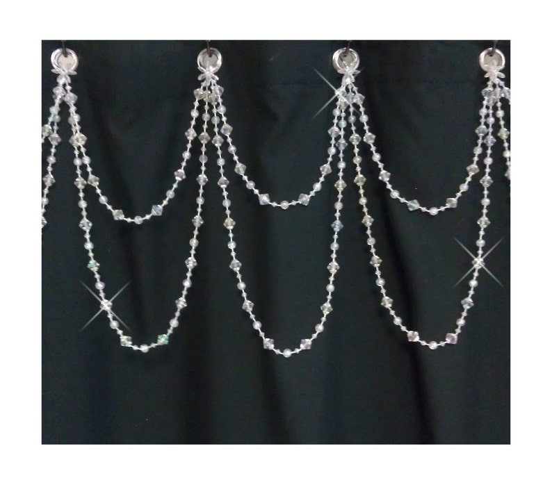Beaded Shower Curtain BlingDouble SwagBright Crystal