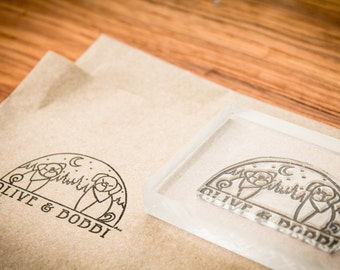 2 Custom Rubber Stamp - 3 x 2 and 2 x 2 inches