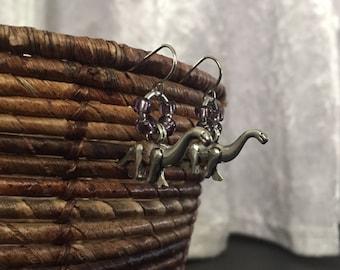 Brontosaurus dangle earrings